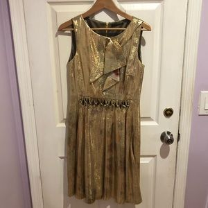 Elie Tahari Size 4 Gold Multi Colored Lame Dress